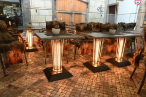 Vyhřívaný stolek Galavito Heating Table model RESTO venkovní předzahrádka