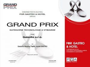 Model BISTRO DUO byl oceněn v soutěži Grand Prix jako nejlepší výrobek v kategorii Technologie a vybavení