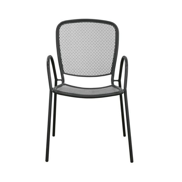Venkovní hranatá kovová židle z tahokovu s opěrkami