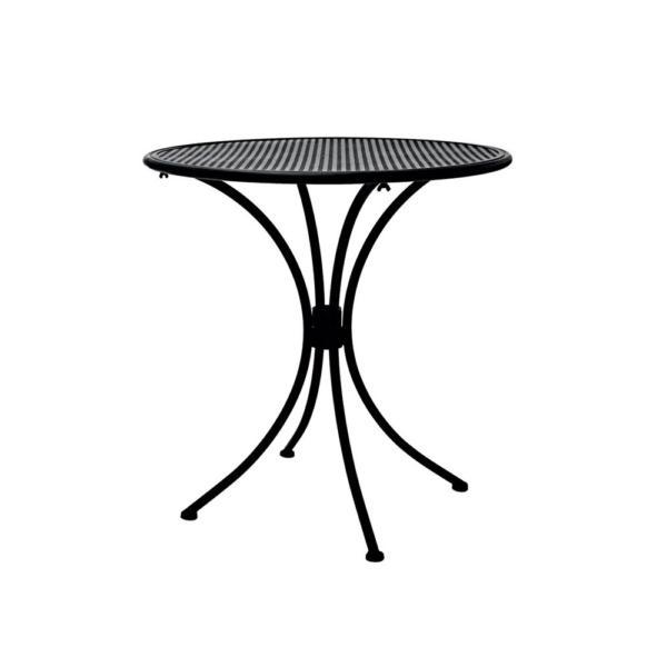 Kovový kulatý stolek z kruhovou deskou z tahokovu
