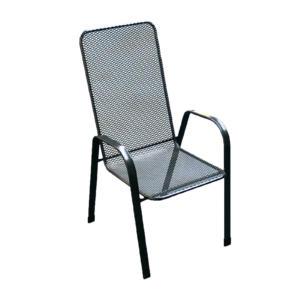 jednoduchá kovová židle s vysokou opěrkou zad