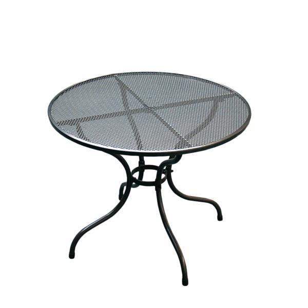 kulatý kovový stolek